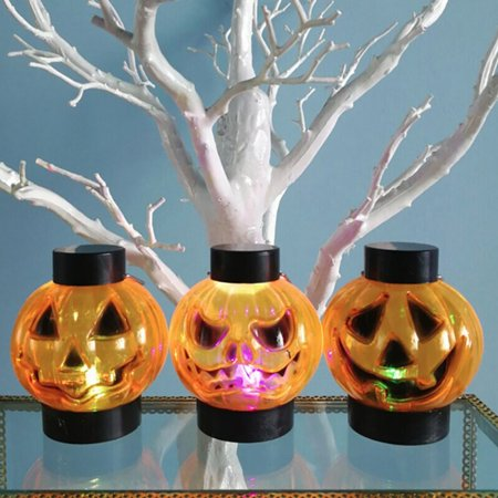 Halloween Horror Nights Jack In The Box (12 PCs/box Halloween LED Night Light Horror Pumpkin Candle LED Flash Light Party Bars Haunted)