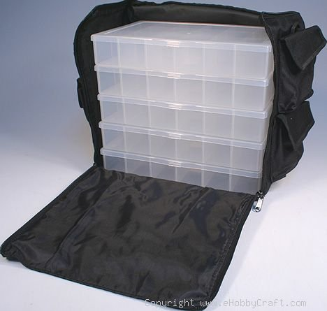 Black Nylon Bead, Sewing, Craft Supply Storage Caddy Tote with 5 Organizers