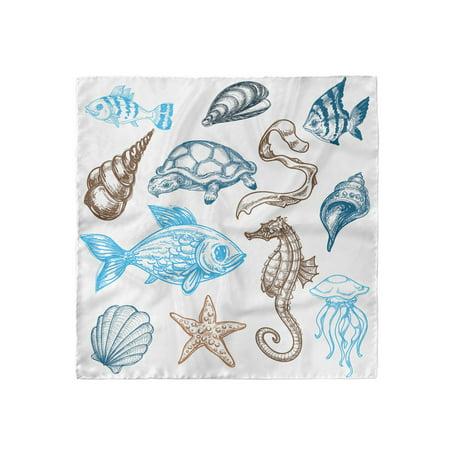 Doodle Head Scarf, Underwater Marine Life, Head Wrap, 3 Sizes, by Ambesonne Iii Marine Life