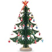 Wooden Tabletop Christmas Tree with 32 Miniature Christmas Ornaments 12.5 Inches