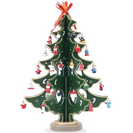 Wooden Tabletop Christmas Tree with 32 Miniature Christmas Ornaments 12.5 Inches - Walmart.com