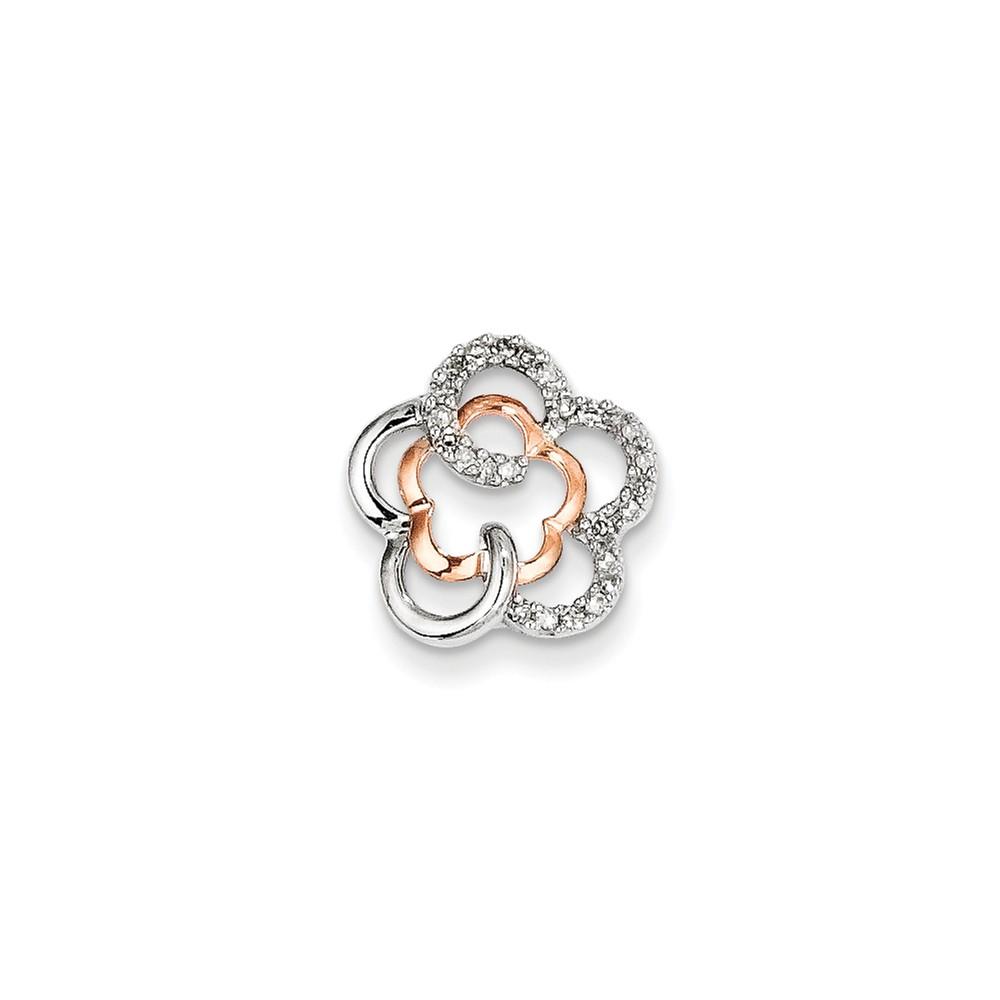 Sterling Silver 0.13ct Rhodium Plated & 14k Rose Gold Flower Diamond Pendant