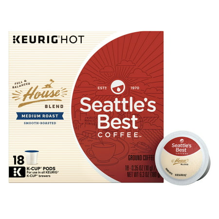 Seattle's Best Coffee House Blend Medium Roast Single Cup Coffee for Keurig Brewers, Box of 18 (18 Total K-Cup