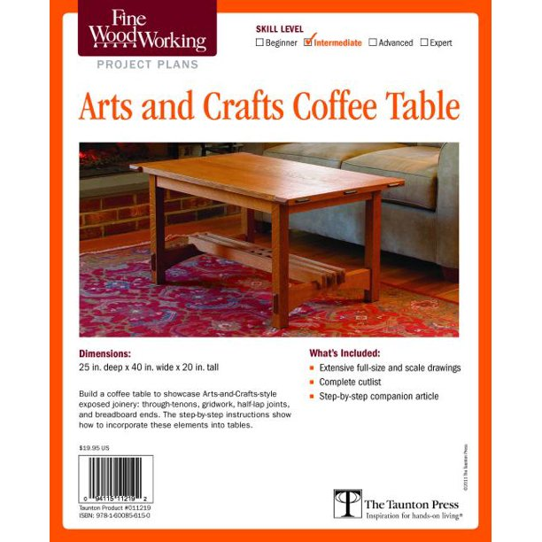 Fine Woodworking S Arts And Crafts Coffee Table Plan Other Walmart Com Walmart Com