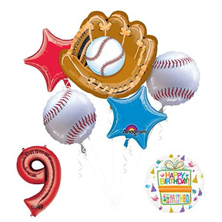 Baseball 9th Birthday Party Supplies and Balloon Bouquet Decorations