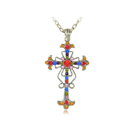 Large Rhinestone Cross (Chic Tone Color Jewel Crystal Rhinestone Celtic Bible Cross Pendant Necklace )
