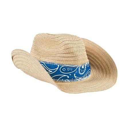 Fun Express - Western Cowboy Hat W/blue Bandana - Apparel Accessories - Hats - Cowboy Hats - 12 Pieces (Cowboy Bandanas)