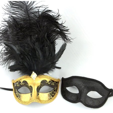 Gold Black His Hers Combo Masquerade Couples Mardi Gras Masks (His And Her Halloween Costume Ideas 2017)