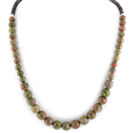 - Certified Authentic Navajo .925 Sterling Silver Natural Green Jasper Heishi Native American Necklace