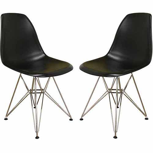 Wholesale Interiors Plastic Side Chair, Set of 2, Black