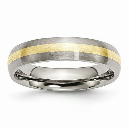 Titanium 14k Gold Inlay Rings (Titanium 14k Gold Inlay 5mm Brushed Band Ring - Ring Size: 6 to)