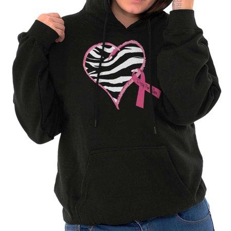 Pink Ribbon Zebra Breast Cancer Awareness (Awareness Sweatshirt)