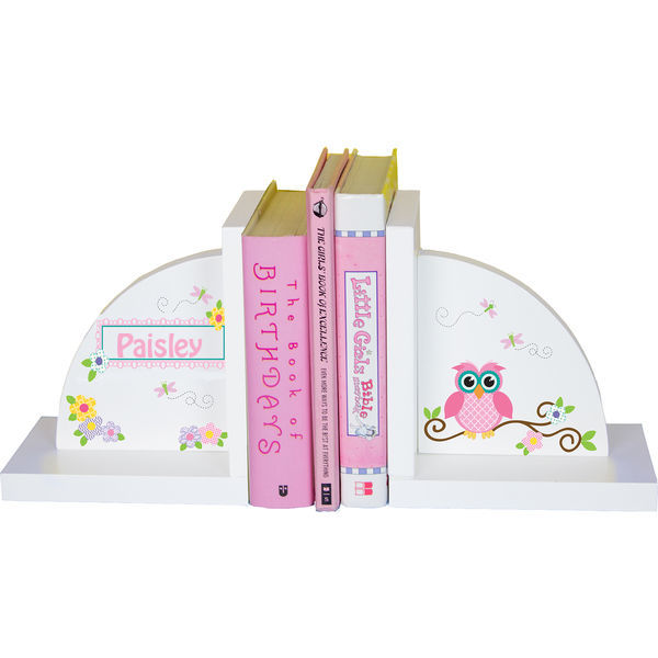 Personalized Pink Owl Childrens Bookends