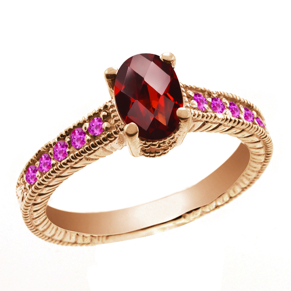 1.30 Ct Oval Checkerboard Red Garnet Pink Sapphire 14K Rose Gold Ring by