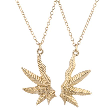 Lux Accessories Gold Tone Best Buds BFF Friends Marijuana Weed Necklace Set