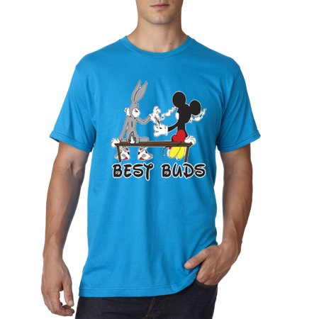 006 - Unisex T-Shirt Best Buds Smoking Bench Mickey Bugs (Best Way To Sell Gold)