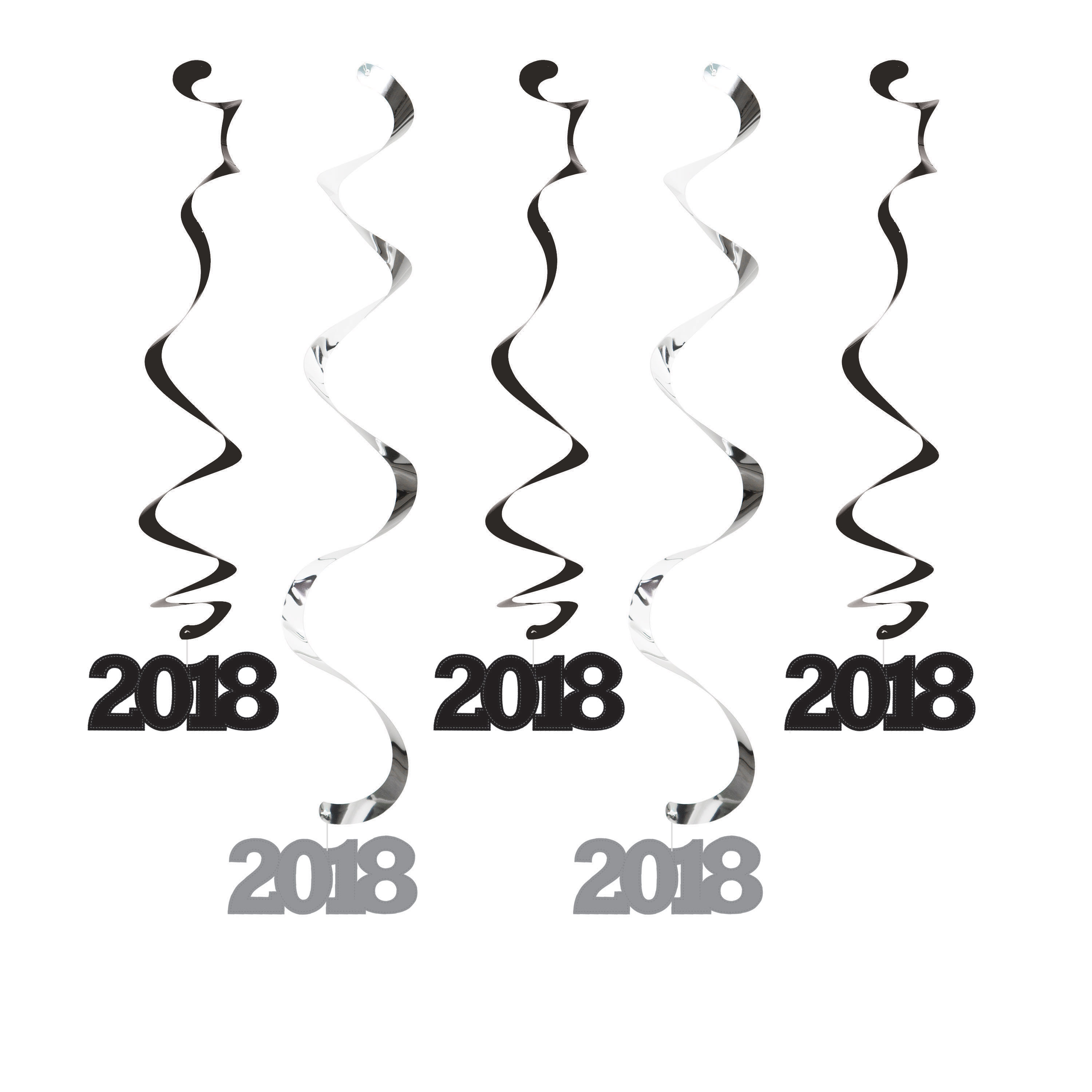 2018 Black and Silver Dizzy Danglers, 5 pk