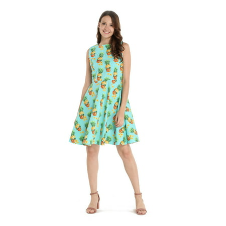 Hawaii Hangover Women's Vintage Fit and Flare Dress XL Halloween Pineapple Skull with - Halloween Party Long Island Ny