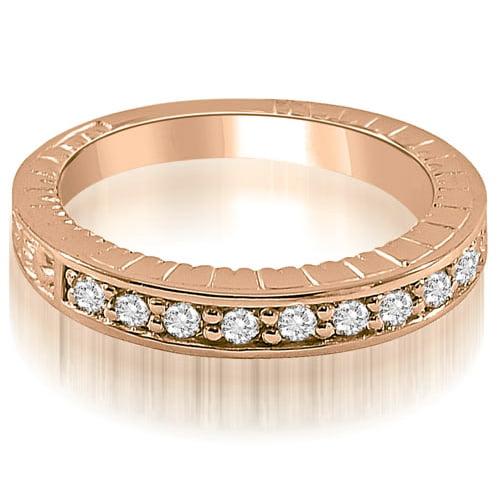 """0.30 cttw. 14K Rose Gold Antique Style Round Cut Diamond Wedding Ring (I1, H-I)"""