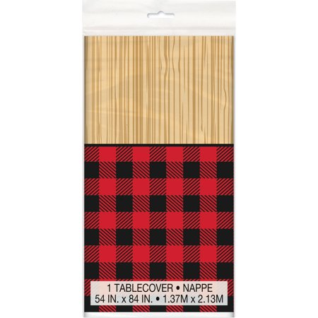 Lumberjack Party ((3 Pack) Plastic Buffalo Plaid Lumberjack Table Cover, 84