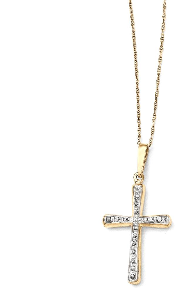 IceCarats 14k Yellow Gold Diamond Fascination 18 Inch Cross Religious Chain Necklace Crucifix Fine Jewelry Gift... by IceCarats