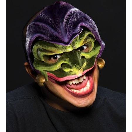 Scary Joker Evil Jester Vinyl Halloween Costume Mask Adult