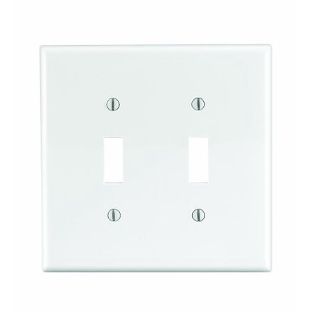 Leviton PJ2-W White Midway Nylon Two Gang Toggle Light Switch Wall Plate 2 Gang Switch Wall Plates
