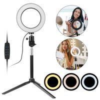 """Professional Ring Light, EEEKit 5500K Dimmable 6"""" LED SMD Studio Ring Light, 3-Light Color Photographic Video Light Holder with Self-Monopod & Table Mini Tripod for Makeup Phone Camera with Bag"""