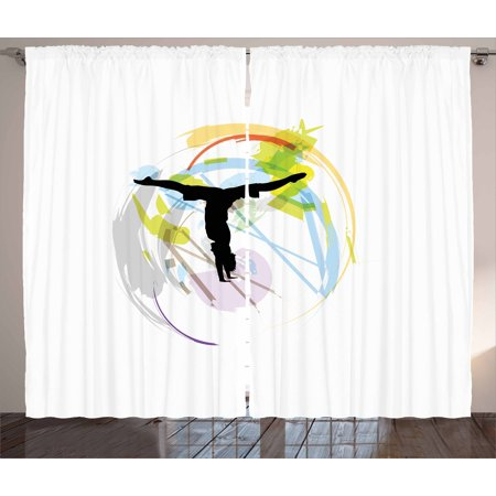 Youth Curtains 2 Panels Set, Yoga Illustration with an Exercising Figure on Pastel Brushstrokes Aerobics Workout, Window Drapes for Living Room Bedroom, 108W X 96L Inches, Multicolor, by
