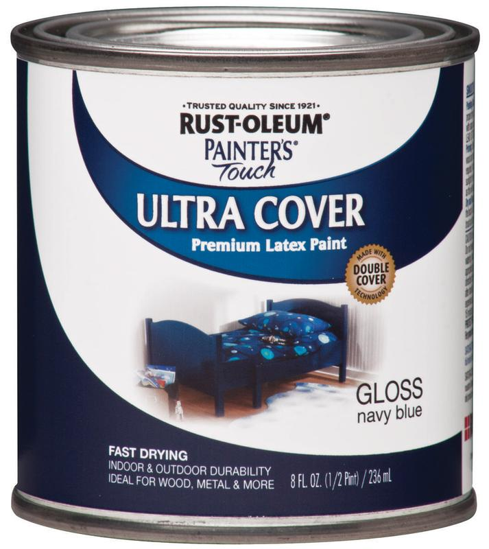 Rustoleum Painter's Touch Ultra-Cover Multi-Purpose Enamel Paint, 1/2 pt Can, Navy Blue