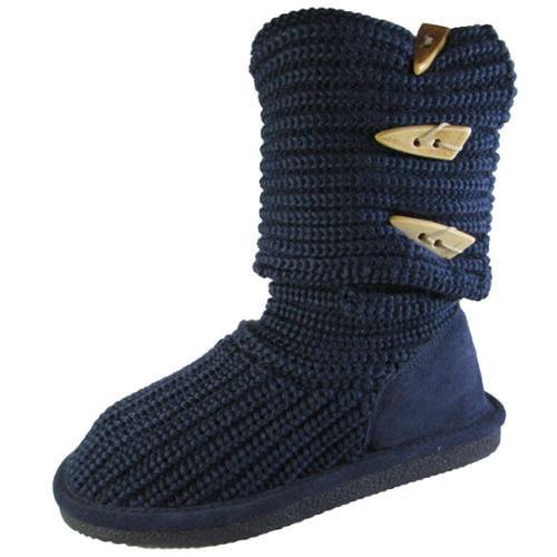 Bearpaw Womens Knit Tall Fold Over Knee-High Boot Shoe, Indigo, US 7