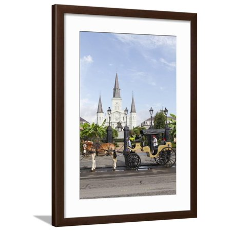 Jackson Square Statue - Statue, St. Louis Cathedral, Jackson Square, French Quarter, New Orleans, Louisiana, USA Framed Print Wall Art By Jamie & Judy Wild