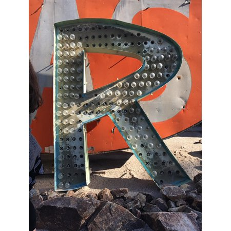 Framed Art for Your Wall Vintage Sign Signage Type Logo Letter R 10x13 Frame (Type R Logo)