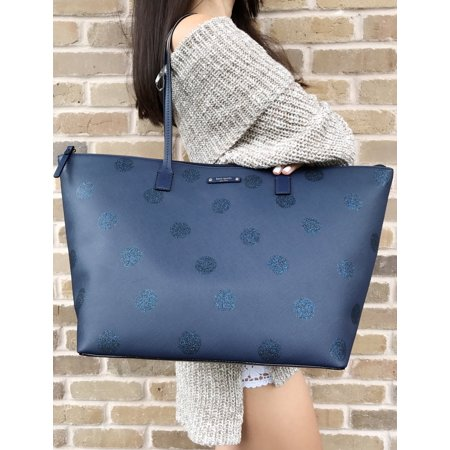 69aa9a1f7 Kate Spade New York - Kate Spade Haven Lane Large Hani Tote Glitter Navy  Blue Polka Dot Handbag - Walmart.com