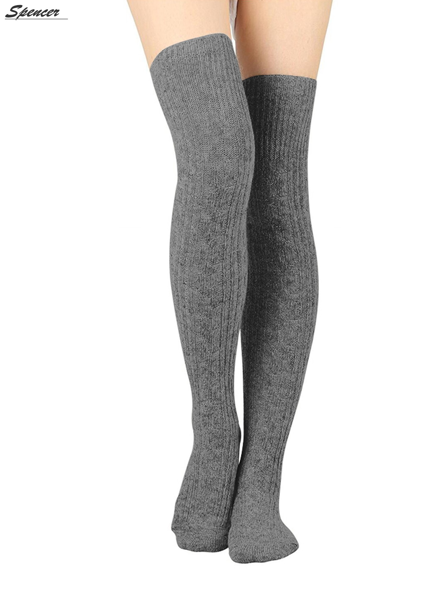 3f52e15c19c06 Spencer - Spencer Women Thigh High Socks Over the Knee Leg Warmer Tall Long  Boot Knit Stocking Girls Leggings