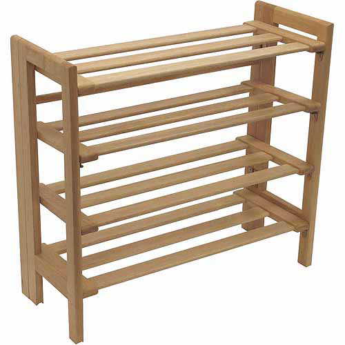 Winsome Trading Inc 81228 4-Tier Natural Foldable Shoe Rack
