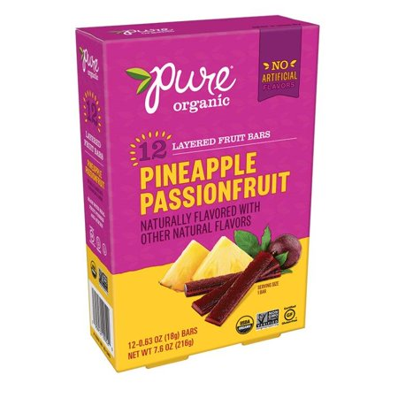 Pure Organic Pineapple Passion Fruit Bars, 0.63 Oz., 12 Count