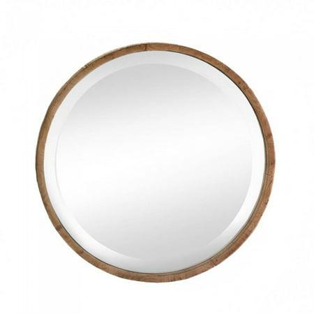 ROUND WOOD FRAME WALL MIRROR (Round Copper Framed Mirror)