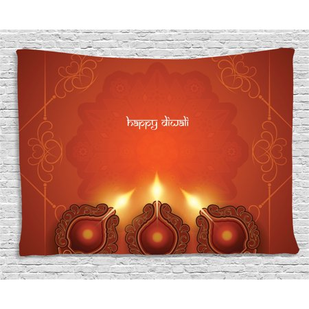 Diwali Decor Tapestry, Paisley Decor Indian Inspired Backdrop with Wooden Oriental Carving Frames Print, Wall Hanging for Bedroom Living Room Dorm Decor, 60W X 40L Inches, Orange, by Ambesonne - Oriental Wall Decor