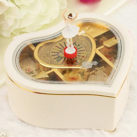 Smart Novelty JewelKeeper Girl's Musical Jewelry Storage Box with Spinning Ballerina, Rainbow and Gold Foil Design, Music Box Ballerina Treasure Music Box