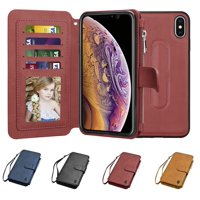 Njjex Wallet Phone Case For Apple iPhone XS Max / iPhone XS / iPhone X, Zipper Detachable Magnetic 8 Card Slots Card Slots Money Pocket Clutch Cover Zipper Wallet Purse Case Wrist Strap -Wine Red