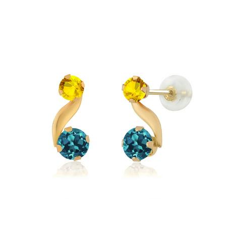 0.93 Ct Round London Blue Topaz Yellow Sapphire 14K Yellow Gold Earrings Citrine & Sapphire Round Earrings