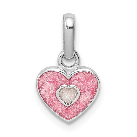 925 Sterling Silver Rhodium Plated Child's Pink Glittered Enamel Heart Shaped Pendant - image 2 de 2