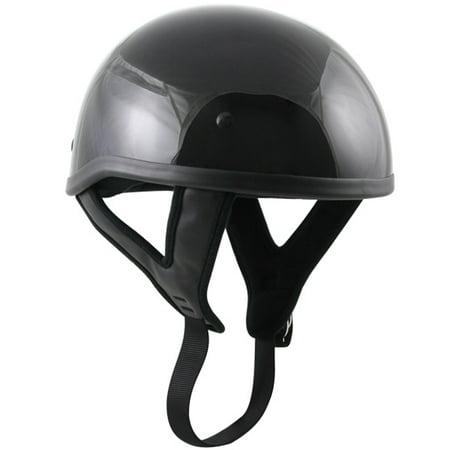 - Outlaw T68 DOT Black Glossy Motorcycle Skull Cap Half Helmet