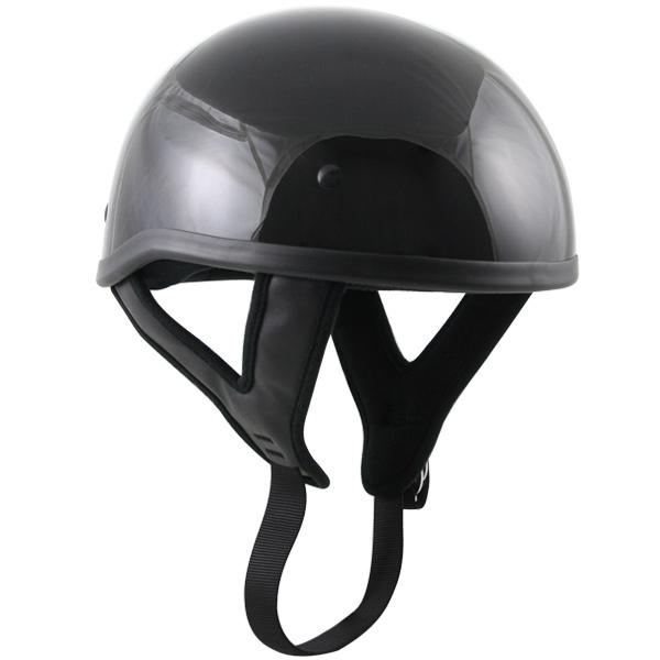 Outlaw T68 DOT Black Glossy Motorcycle Skull Cap Half Helmet