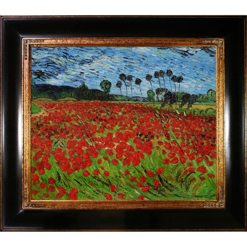 Wildon Home 'Field of Poppies' Canvas Art by Vincent Van Gogh Impressionism in Opulent Frame