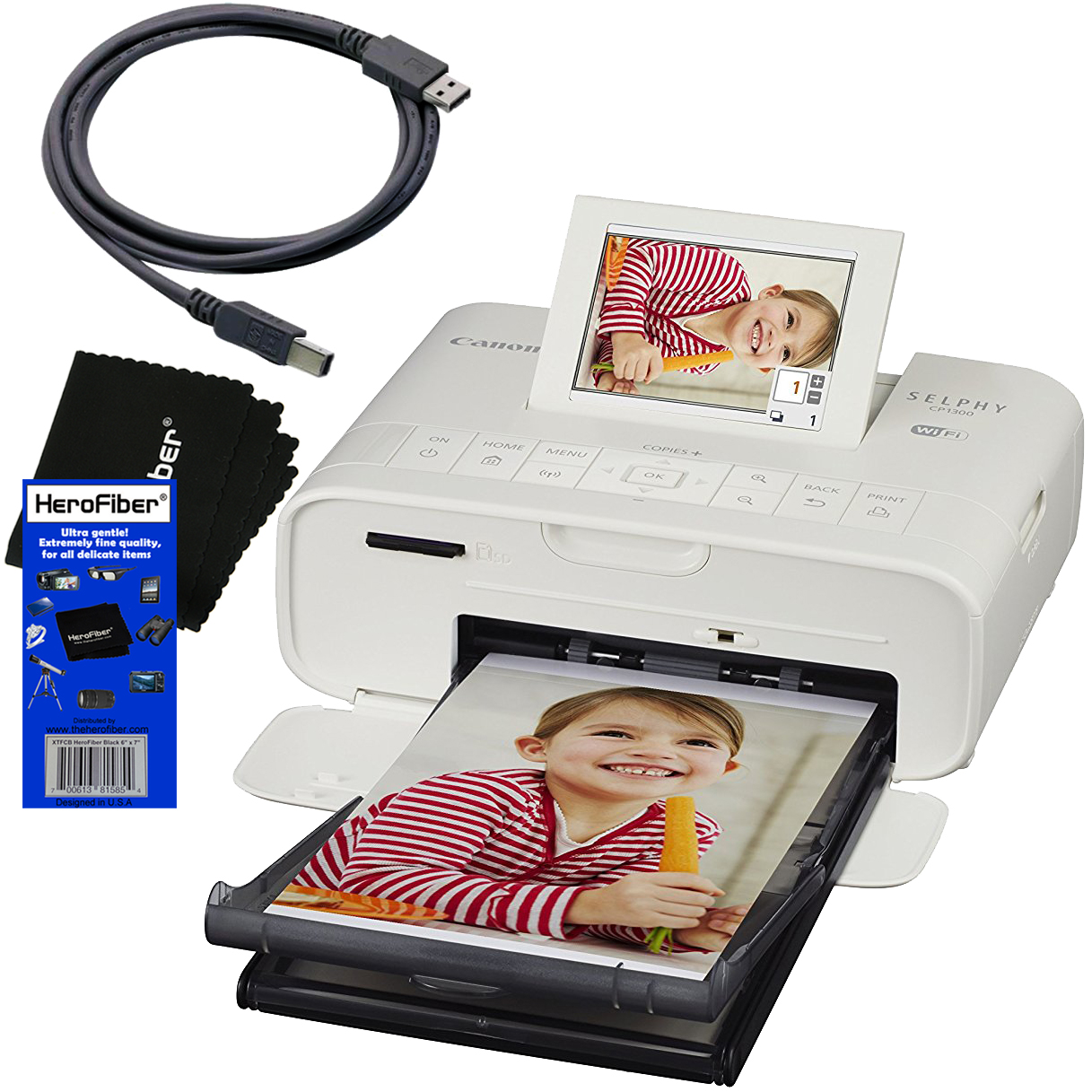 Canon SELPHY CP1300 Wireless Compact Photo Printer (White) + USB Printer Cable + HeroFiber Ultra Gentle Cleaning Cloth