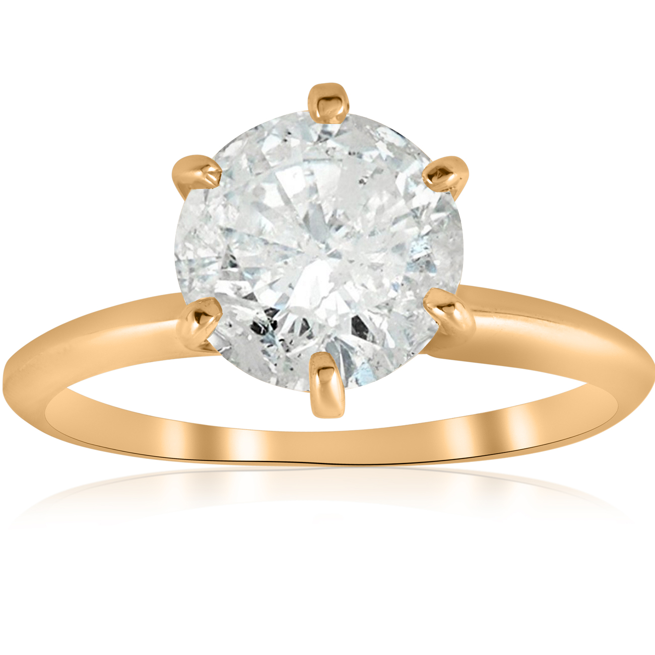 Large 2 1 2 ct Round Solitaire Diamond Engagement Ring 14k Yellow Gold Enhanced by Pompeii3