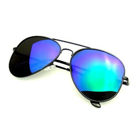 Emblem Eyewear - Full Mirror Flash Mirror Polarized Aviator (Dark Black Aviator Sunglasses)