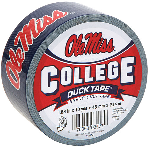 "Duck Brand Duct Tape, College Logo Duck Tape, 1.88"" x 10 yard, Ole Miss Rebel Black Bears"